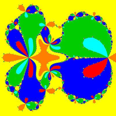 Basins of Attraction z^6-10z^3+8=0, Ostrowski-Verfahren