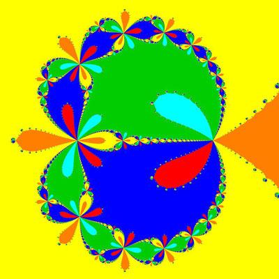 Basins of Attraction z^6-10z^3+8=0, Newton-Verfahren