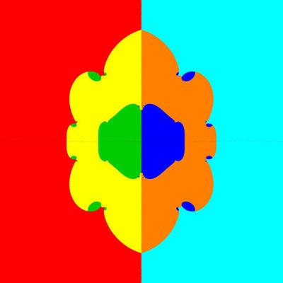 Basins of Attraction z^6-14z^4+49z^2-36=0 Laguerre-Verfahren, B=[-5, 5]x[-5, 5]