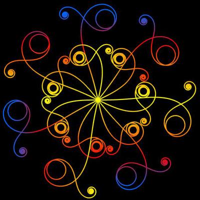Ornament aus polynomialen Spiralen coloriert - Beispiel 04