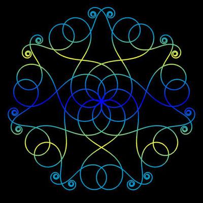 Ornament aus polynomialen Spiralen coloriert - Beispiel 02