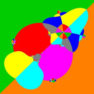 Basins of Attraction z^8+3z^4-4=0 Laguerre-Verfahren, Zoom