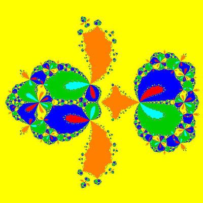 Basins of Attraction z^6-10z^3+8=0, Fang-Ni-Chen-Verfahren
