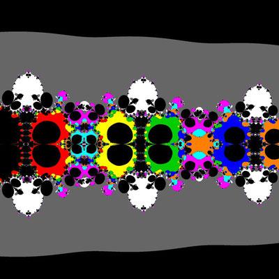Basins of Attraction sin(z)=0 Sekanten-Verfahren, z<sub>1</sub>=(0.8, 0), B=[-15, 0]x[-8, 7]