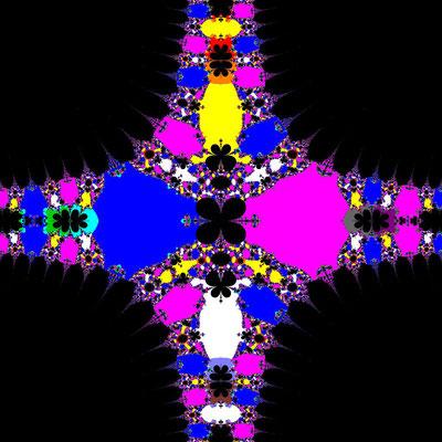 Basins of Attraction sin(z^2-1)=0 Sekanten-Verfahren, z<sub>1</sub>=(0,0), B=[-3.5, 3.5]x[-3.5, 3.5]