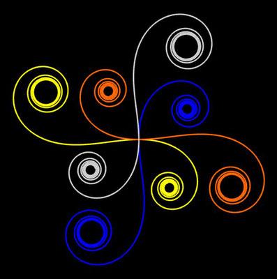 Ornament aus polynomialen Spiralen coloriert - Beispiel 10