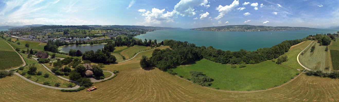 Halbinsel Au Zürichsee, Blickwinkel 360 Grad
