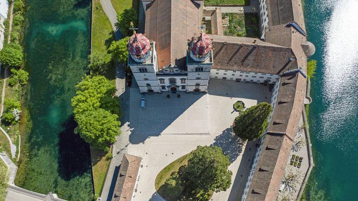2020, Woche 21, Kloster Rheinau Drohnenaufnahme
