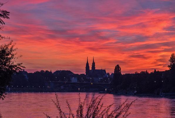2019 Woche 38, Abendstimmung, Rhein bei Basel