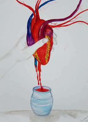 Herzblut, A3, Mischtechnik, 2019