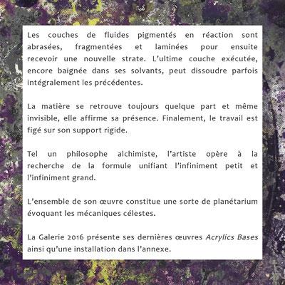 """Texte p.2 présentation exposition """"Acrylics Basis"""" Galerie 2016 Hauterive NE CH"""