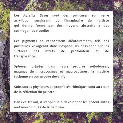 """Texte p.1 présentation exposition """"Acrylics Basis"""" Galerie 2016 Hauterive NE CH"""