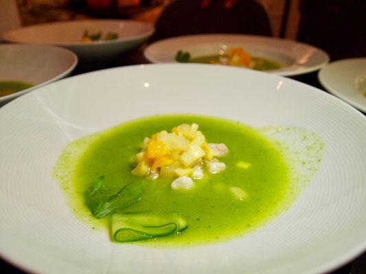grüne Gazpacho mit Kabeljau Ceviche