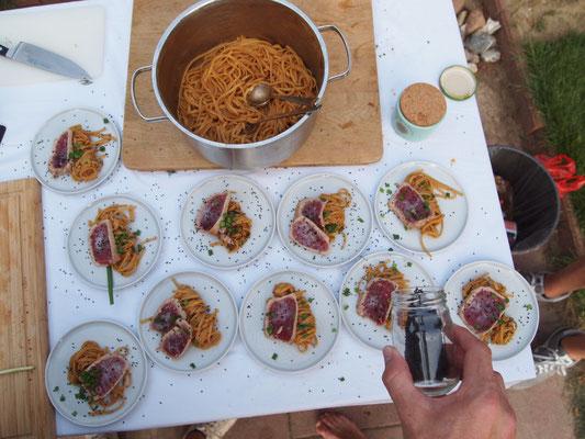 Ein ziemlich perfekter Teller - Miso Spaghetti mit Thunfisch