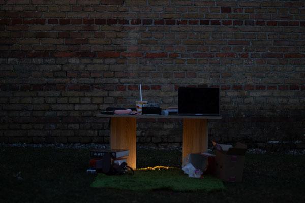 """""""A Living Space"""", 2021, installation, Greifswald (created at the Workshop: """"Künstl. Installation zwischen Urbanem Raum & Natur"""" by Holger Stark)"""