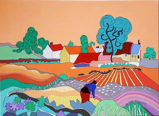 Le mas provençal (inspiration Van Gogh) - 73x54 - acrylique