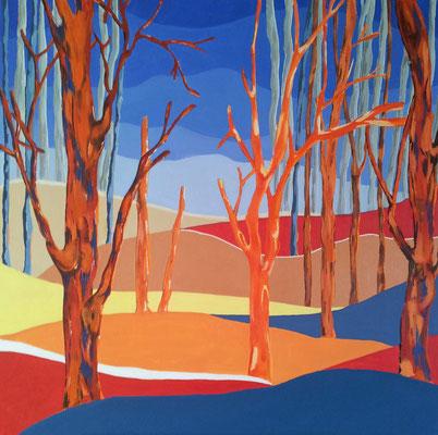 La forêt rouge - 80x80 - acrylique