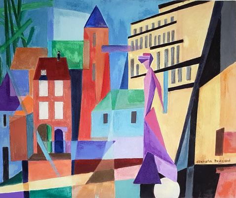 La dame de la Porte d'Amont (inspiration Feininger) - 65x54 - acrylique/pastel sec