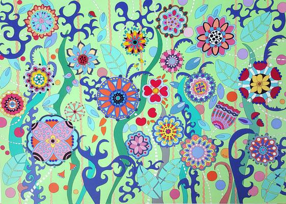 La prairie fleurie - 140x100 - acrylique