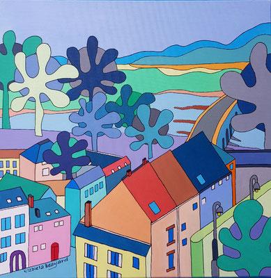 La vue du château de Beaugency - 40x40 - acrylique