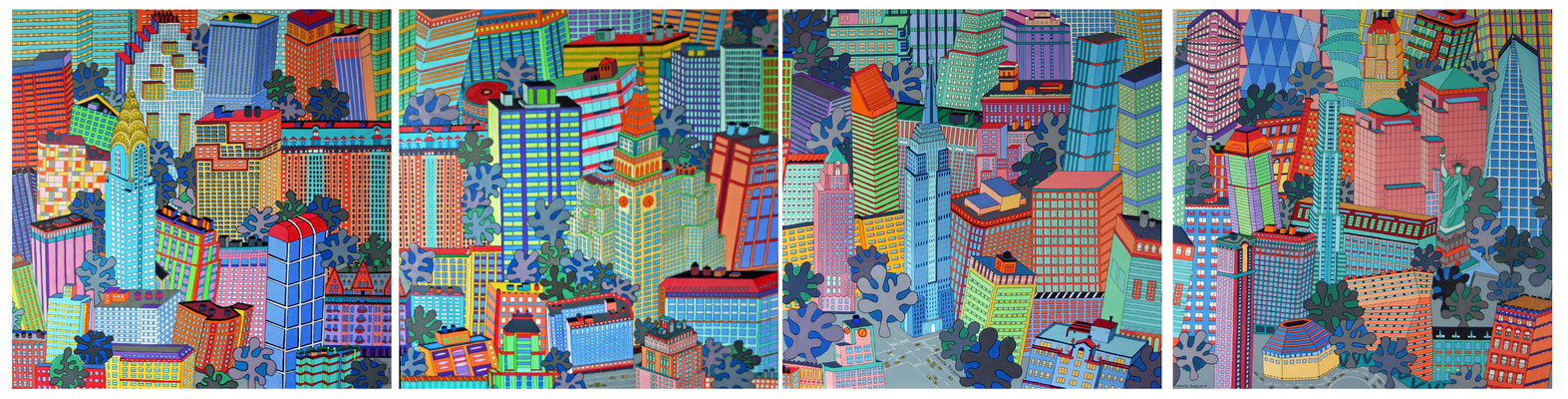 Quatre tableaux de New York formant un quadriptyque  - 320 x 80 - acrylique