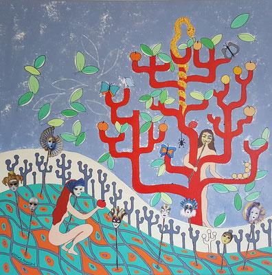 Le jardin d'Eden - 80x80 - acrylique/collage