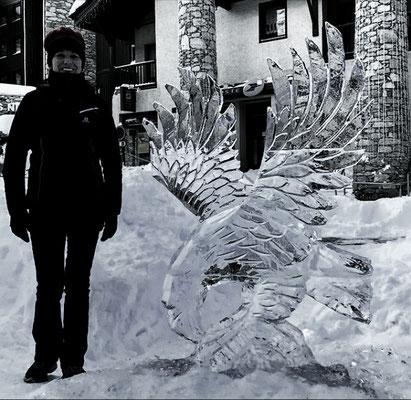 Aigle - Sculpture sur glace - Val d'Isère - Manon Cherpe