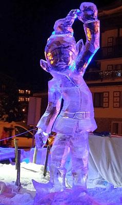 Lutin - Sculpture sur glace - Val d'Isère - hauteur 1,5m - Manon Cherpe