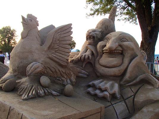 Le Père Lustucru, sculpture sur sable, Fête du sable d'Excenevex 2019, Manon Cherpe