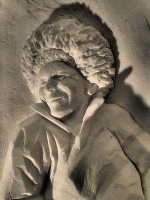 Eleveur de rennes - Sculpture sur neige - Village Igloo les Arcs - Manon Cherpe