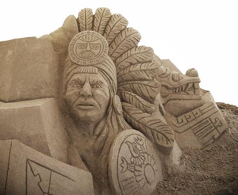 Incas, sculpture sur sable, festival de sculpture sur sable du Cap d'Agde 2010, Manon Cherpe