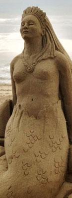 Sirène, sculpture sur sable - Grau-du-Roi, Manon Cherpe