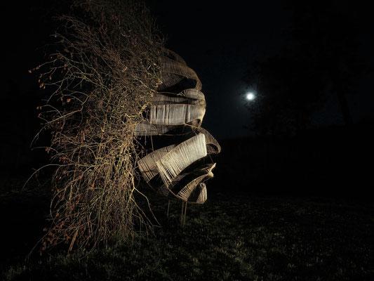 Le Passage, masque, sculpture Land Art bois, métal, ficelle, Festival de Land Art de Neuf-Brisach Remp'Arts 2018, hauteur 5m, Manon Cherpe