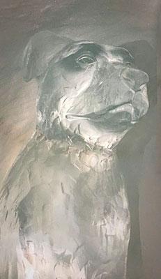 Chien - Sculpture sur Glace - Igloo val d'Isère - hauteur 1m - Manon Cherpe