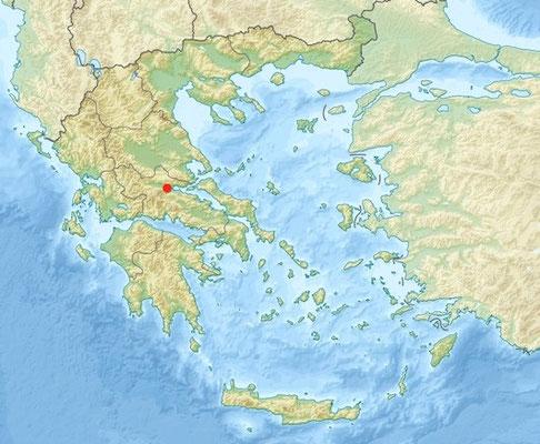 Le point rouge sur la carte situe le lieu de la bataille
