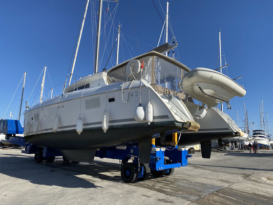 "... since the boat was ""on the hard"" I decided to have the antifouling renewed and Saildrive-Oil changed, so that when marinas are opened again, I will be ready to set sail!"