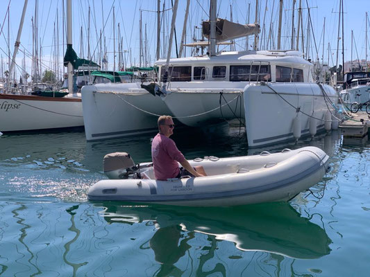 Finally I have my first real (serious) Dinghy with a 20 HP outboard motor  ... this should be easily up to the job of getting food and crew to and from the boat while at anchor in the carribean!