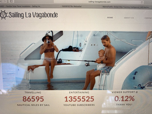 Riley and Elayna now have more the 1,3 Million youtube subscribers ... have a look at their homepage www.sailing-lavagabonde.com !