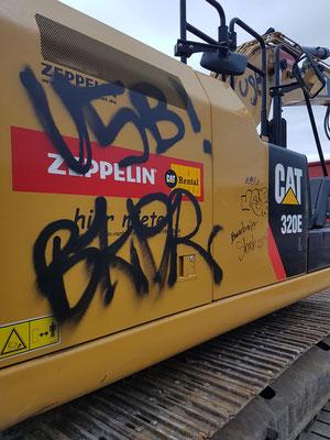 Graffitientfernung Bagger