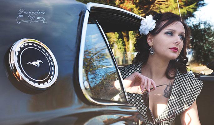Shooting photo couleur pour elle (vue4), projet photographique avec la Ford Mustang en Normandie