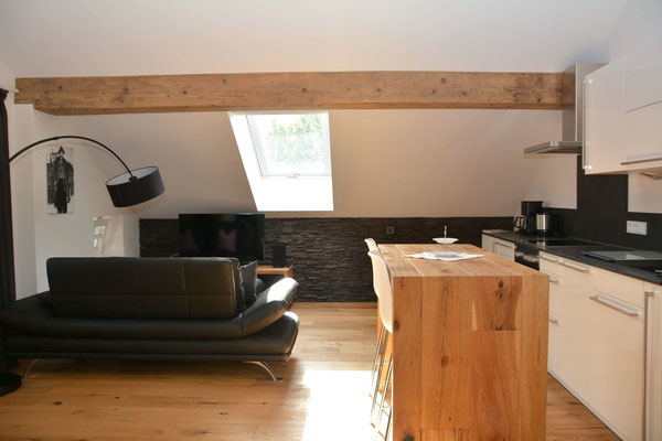 Ferienhaus in Oberstdorf, Ferienhaus Sehrwind – Wohnraum mit Küche unter dem Dach, Dachgeschoß