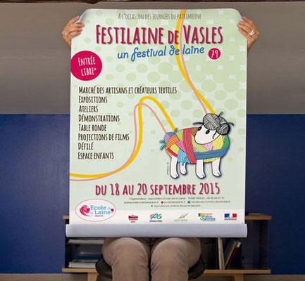 Affiche FESTILAINE (1er festival de la laine) - ÉCOLE de la LAINE - Vasles