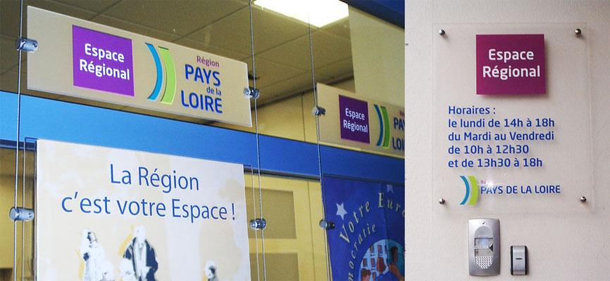 Réalisation de la signalétique des agences Espace Régional de la Région Pays de Loire - pour 44 enseignes - Nantes