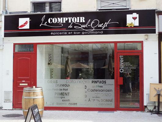 Enseigne et décor vitrine - Le COMPTOIR du SUD-OUEST - Poitiers