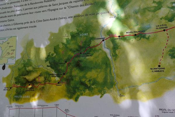 Der Weg auf der Karte