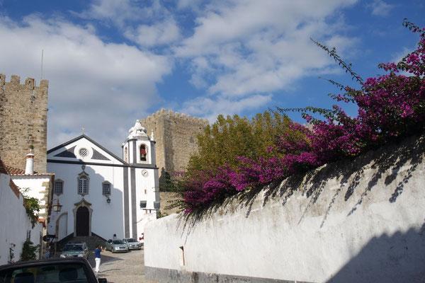 Blumenpracht im Städtchen Òbidos