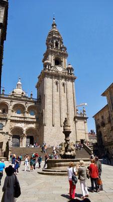 Erster Eindruck von der Kathedrale in Santiago de Compostela