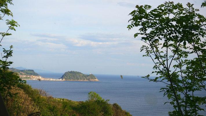 Die Aussicht von unserem Stellplatz in Zarautz bei San Sebastian