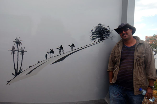 In Taghazoute, Rachid und sein Kunstwerk