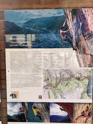Auf der Routenkarte an der Info-Tafel im Dorf sind die zahlreichen Klettervarianten sichtbar